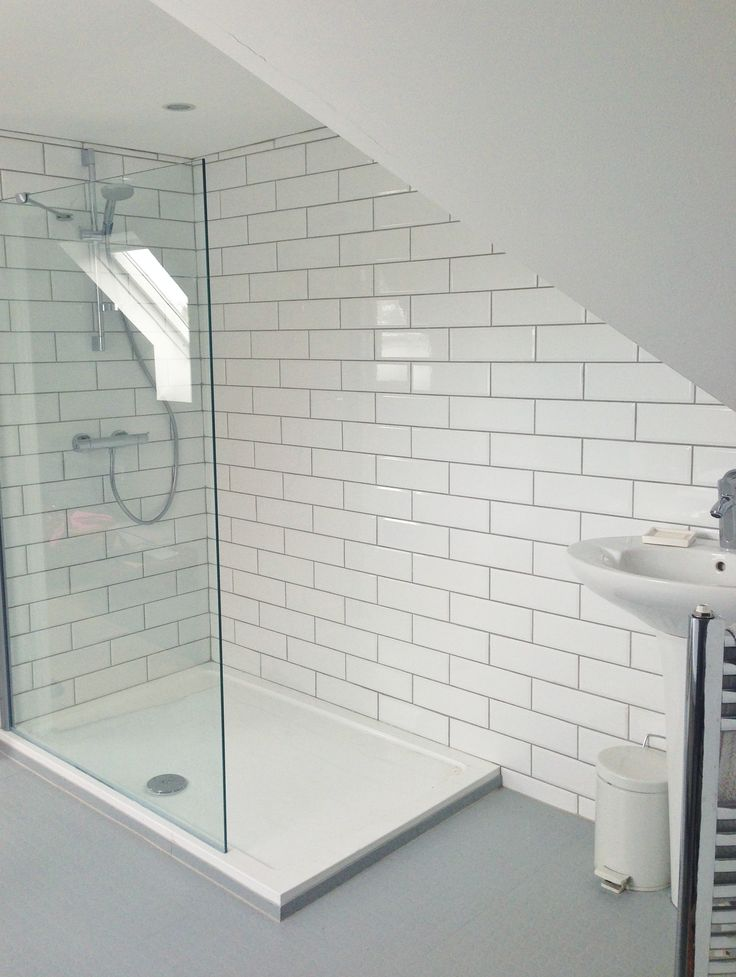 Our ensuite. White Metro tiles