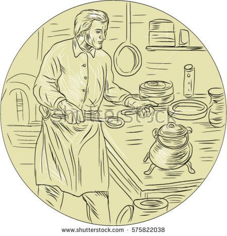 Drawing sketch style illustration of a cook chef in medieval times wearing apron holding pan cooking in the kitchen set inside oval shape.  #chef #sketch #illustration