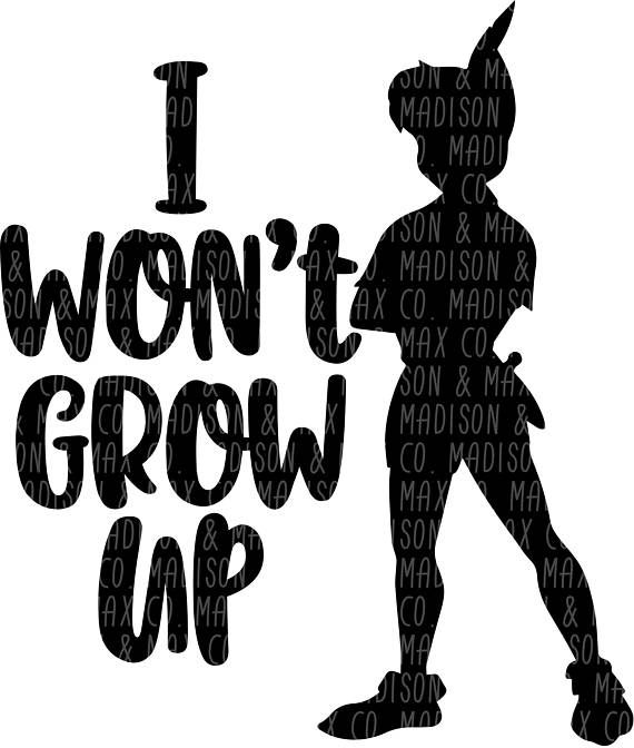 I wont Grow Up. This awesome SVG / PNG file is great for Coffee Mugs or Tumblers or whatever youd like to use it for! You are purchasing a ZIP file with both SVG and PNG files included. NOTHING WILL BE MAILED TO YOU. THIS IS A DIGITAL LISTING ONLY. Upon receipt of payment, a download link will automatically be sent to the email address registered with your account. Your purchase will contain the following: *SVG DIGITAL FILE *PNG DIGITAL FILE Files work with the following programs: * ...