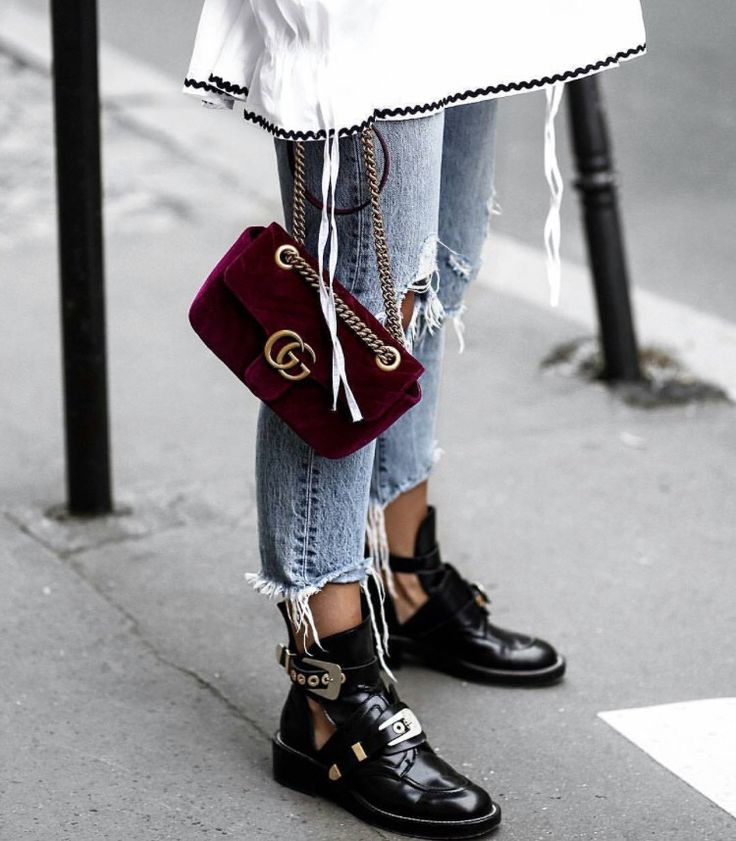 Red Gucci velvet marmont bag | Balenciaga boots and ripped jeans | winter fashion | streetstyle