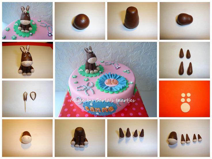 Carla's taartjes-mijn gemaakte howto's-een heel makkelijk te maken gumpaste paardje