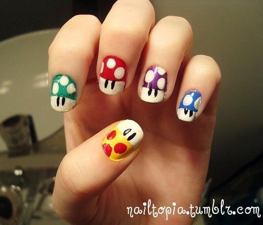 inspire me Mario mushroom nails! Must do!: Hair Nails Beautiful, Nails Design, Nails Hair Makeup, Hair Makeup Nails Body, Nails Ideas, Mario Nails, Nails Art Design, Mario Mushrooms, Mushrooms Nails