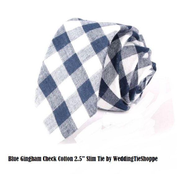 Wedding Tie Blue Gingham Tie Slim Tie 2.5 Powder Blue