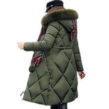 Big fur winter coat thickened parka women stitching slim long winter coat down cotton ladies down parka down jacket women 2017(China)
