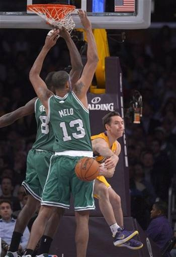 """Congratulations to Steve Nash for passing former Laker Earvin """"Magic"""" Johnson for 4th all-time in Assists (Staples Center in Los Angeles 