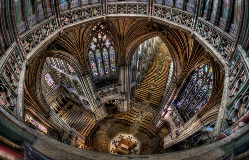We managed to get up into the roof at Ely Cathedral, open up one of those little painted doors you can see, and HANG THE TRIPOD over the edge of a 300 FOOT DROP to capture 7 exposures without dropping the damn thing! phew...i was sweating taking this shot! If you look closely you can see a guy standing in between the chairs at the bottom looking like an ant! #arthakker #HDRphotography