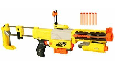 Nerf N-Strike Recon CS-6 Dart Blaster by Hasbro Toys. $33.99. From the Manufacturer                Build your own blaster with five interchangeable parts that you can take apart and reassemble any way you want. Snap the parts in any configuration onto the TACTICAL RAIL™, and gain the upper hand in any situation that calls for awesome dart-tag action. Other features include a flip-up sight for aiming precision and a dual-mode light beam with red-dot accuracy that's perfect f...