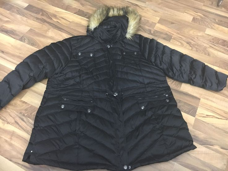 Womens Plus Size 3X 3XL Laundry Down Feather Faux Fur Puffer Jacket Winter Coat #Laundry #Puffer #Evening