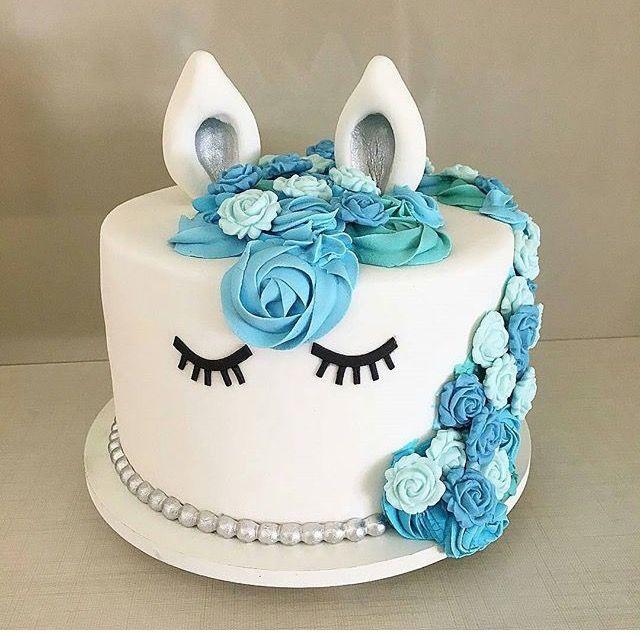Small blue designing unicorn cake