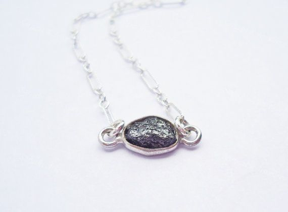 Rough Black Diamond Necklace Silver necklace by SaruchiRJewellery