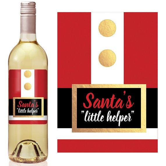 christmas wine labels holiday wine label santa s little helper