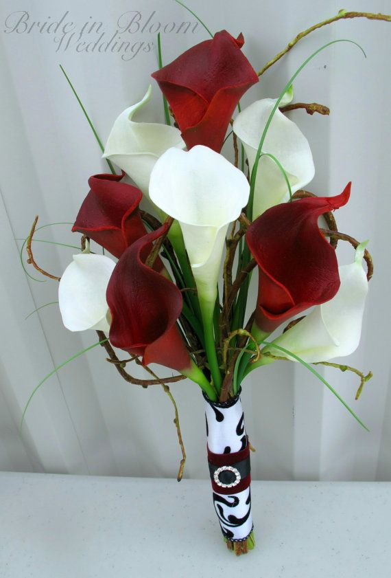 Wedding Bouquet Real Touch Red White Calla Lily Bridesmaid Bouquet