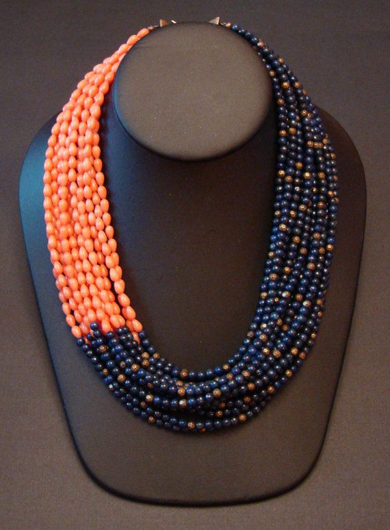 Asymmetrical Lapis Lazuli and Pink Coral Necklace by bejouled, $149.95