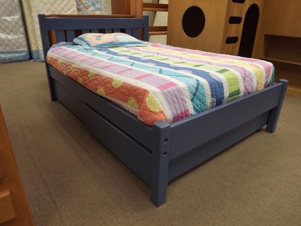 Sturdy solid wood full bed with rolling storage drawers - Windsor style. Available in various sizes. Built to order in Ohio. Choose your finish & options!