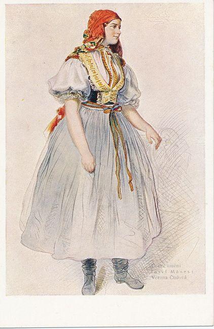 Josef Mánes ( 1820 - 1871) Studie kroje Veruna Čudová z Bílovic