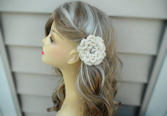 Crochet Wedding Hairstyles : Bridal White Hair Accessory, Crochet Flower Hair pin, Bridesmaid Hair ...