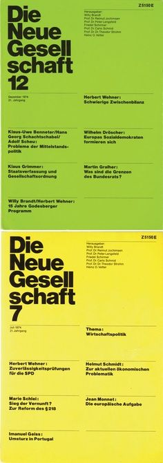 A scan of an original copy of Die Neue Gesellschaft, a political magazine that was art directed by Helmut Schmid.