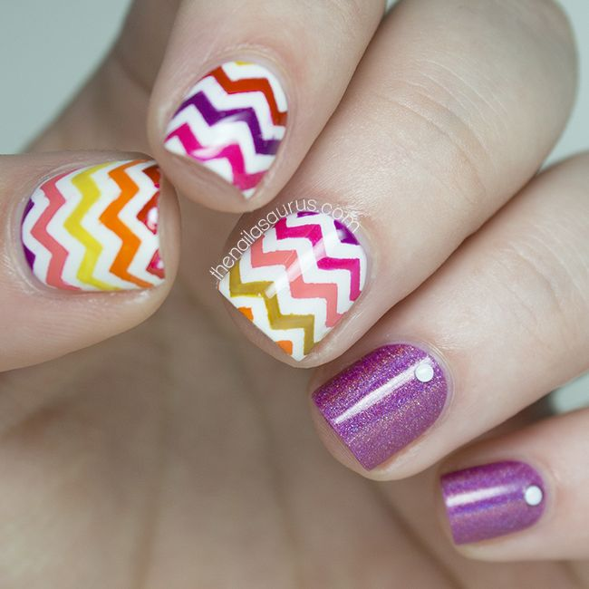 30 Cute and Edgy Chevron Nail Arts - Be Modish