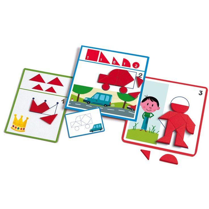 Alakzatok és formák Alakzatok és formák fejlesztő játék- Eduludo Shapes Djeco-8300  A játék lényege, hogy a feladatkártyákon szereplő képeket kirakd a fa, geometriai elemekből. A feladatok egyre bonyolódnak, úgyhogy mozgasd meg az agytekervényeidet!