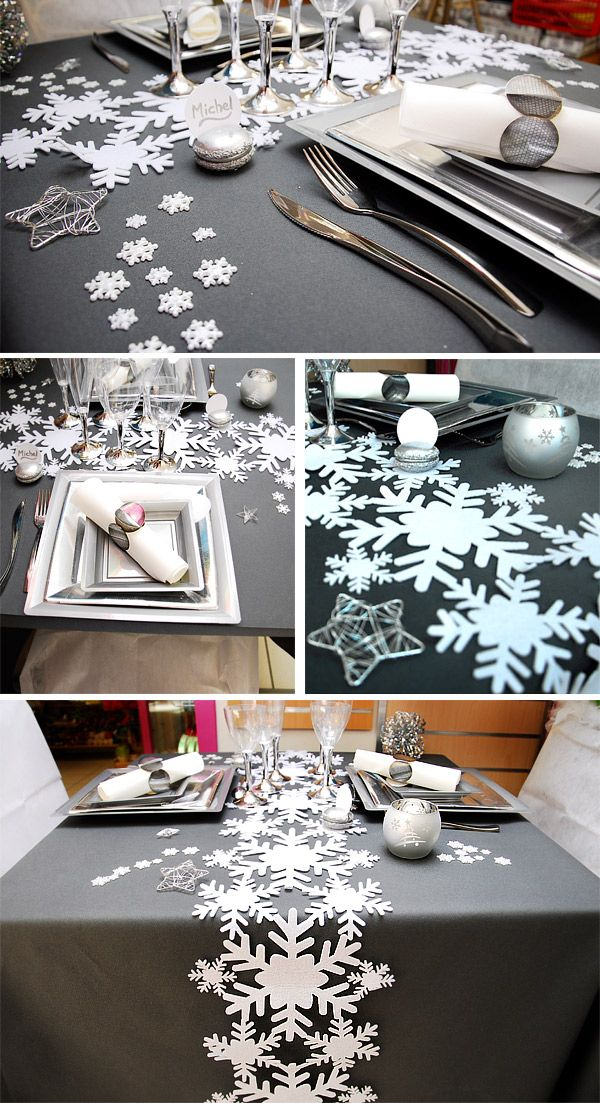 1000 id es sur le th me d corations de table de no l sur - Deco table noel argent et blanc ...