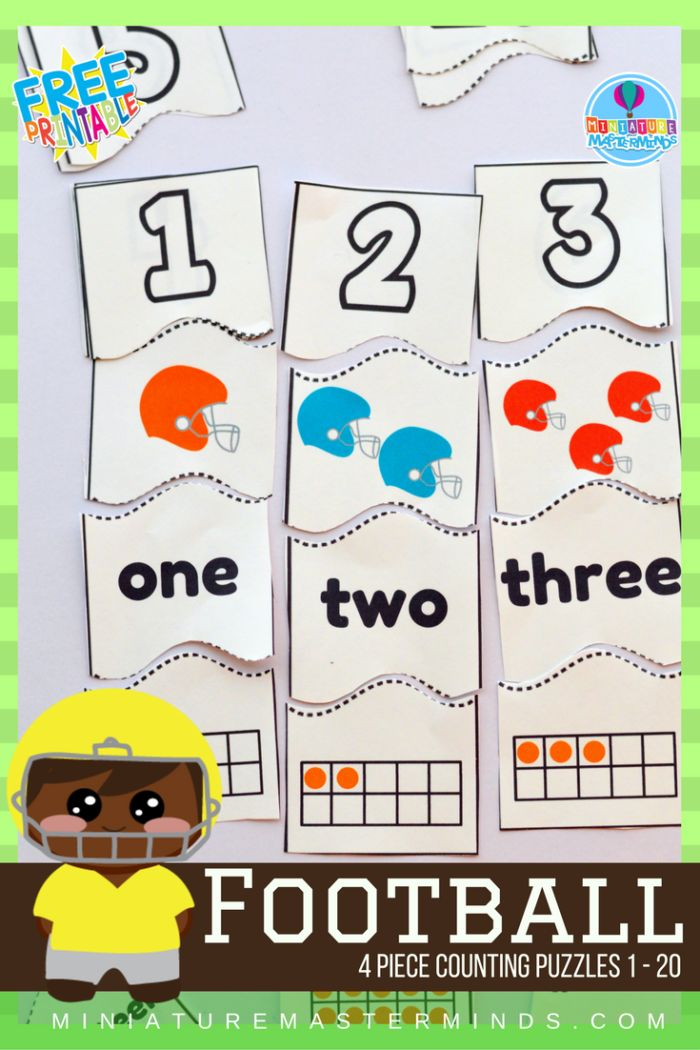 Share this:     Football Themed Preschool 4 Piece Counting Puzzles From 1 to 20  20 4 piece puzzles! Each puzzle has the number, countable images, the word, and a tens chart. Here is more Football learning fun with these 4 piece number puzzles!