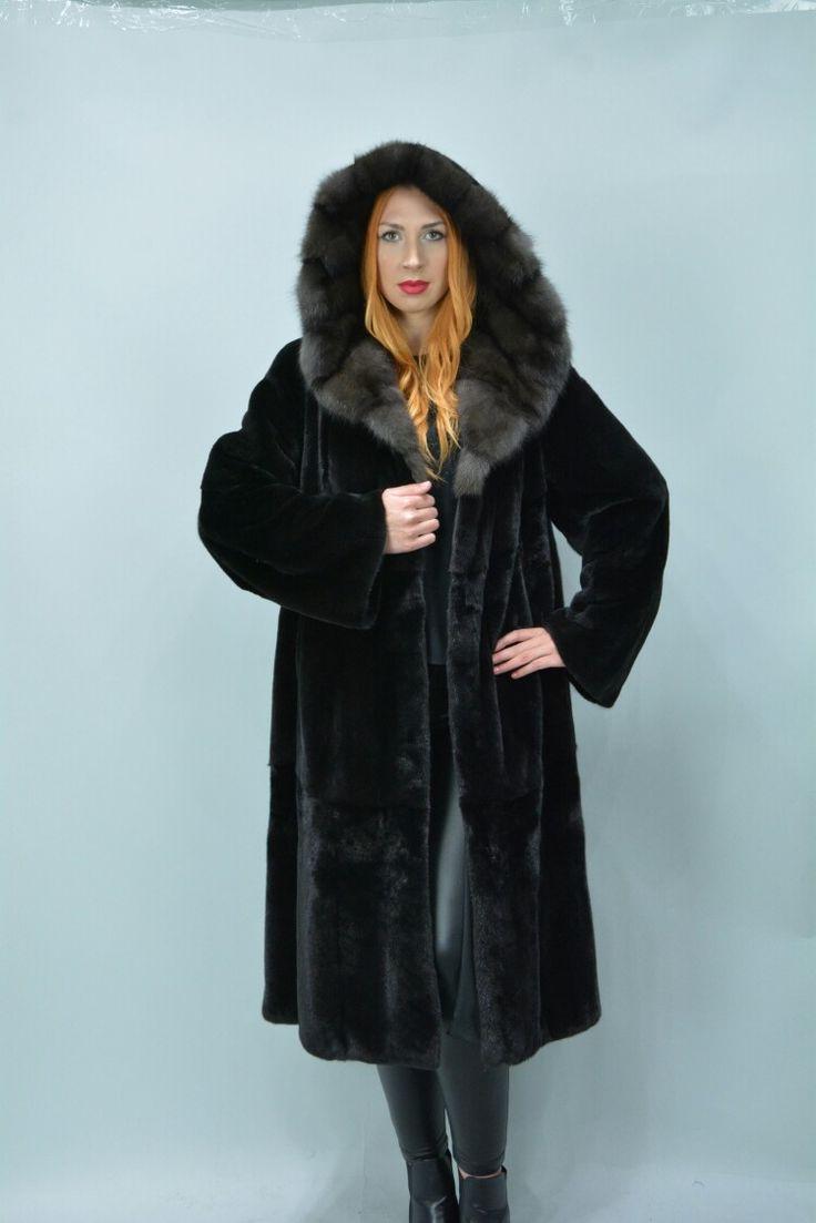 Fabulous choice Black Nafa &    sable mink fur coat with hood.