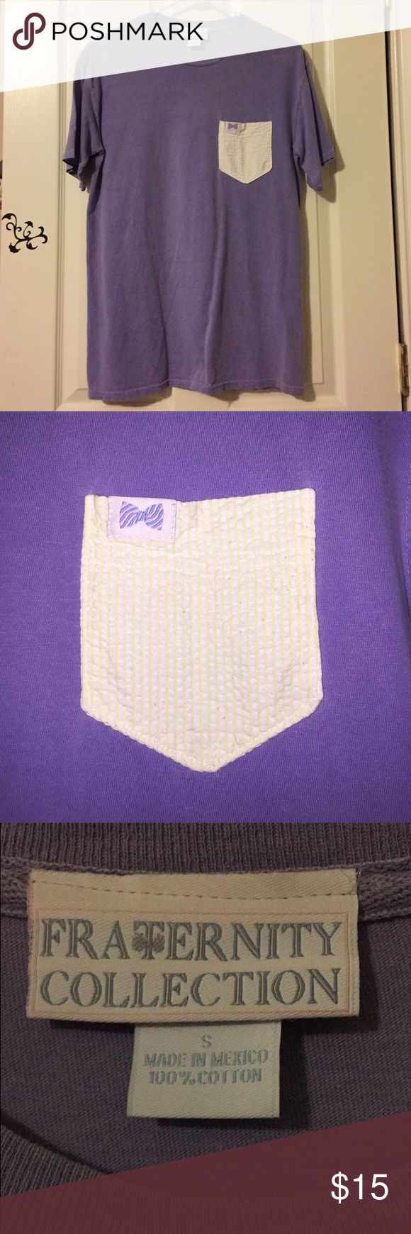 Fraternity Collection Lavender Pocket Tee Fraternity Collection Lavender Tee. Yellow White Stripe Pocket. I've Maybe Worn This Twice, Just Not My Style. Fraternity Collection Tops Tees - Short Sleeve