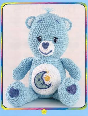 Crochet Care Bear and Tummy Symbols - Free Amigurumi Pattern here: http://laboresdeestheramigurumis.blogspot.com.es/2009/11/8-osos-amorosos.html
