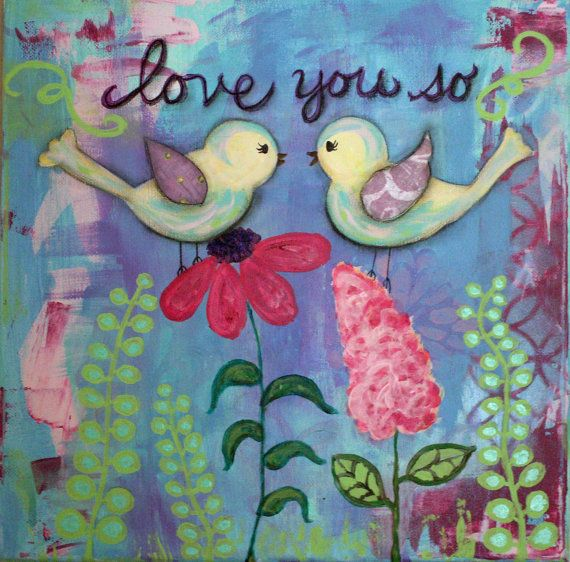 Original Painting for Girl, Birds, Love, Flowers and Birds 12 x12 Canvas, Baby, Toddler, Teen Girl on Etsy, $75.00