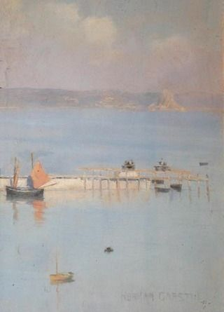 'A VIEW OF MOUNT'S BAY WITH THE NORTH PIER' (c. 1892) by Norman Garstin (Collectionm Penlee House Gallery and Museum, Penzance, Cornwall).