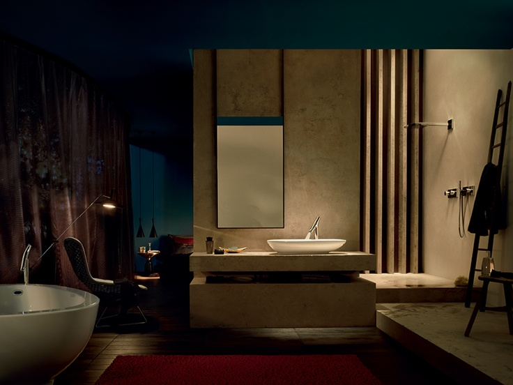 Axor Starck Organic: bathroom ambience by night.