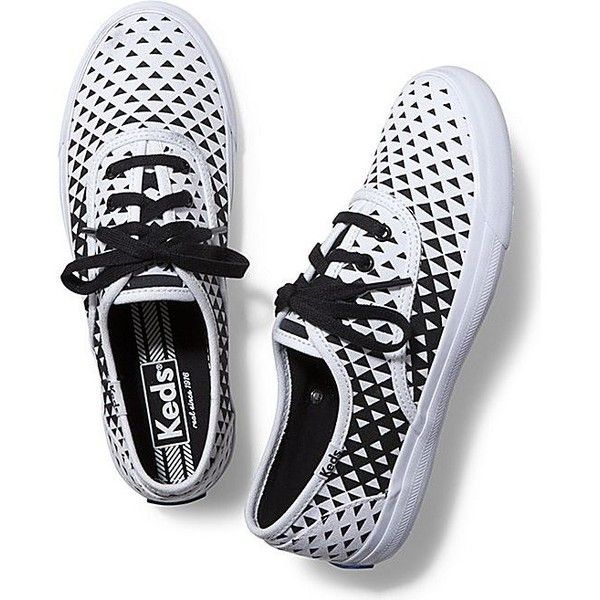 Keds Triumph Triangle Fade Out (3,640 INR) ❤ liked on Polyvore featuring shoes, sneakers, white black, black white shoes, lacing sneakers, laced up shoes, keds sneakers and lace up sneakers
