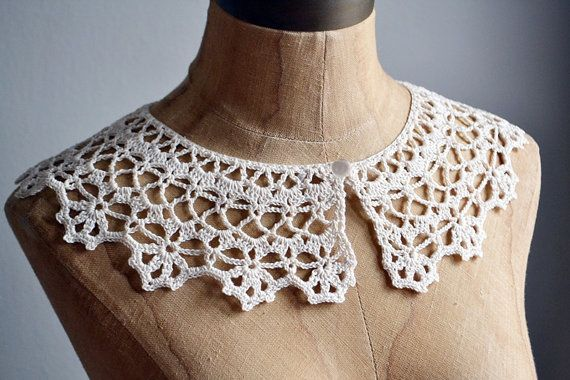 Vintage 60s ivory cream CROCHET lace peter pan by BrownCowVintage, $8.00