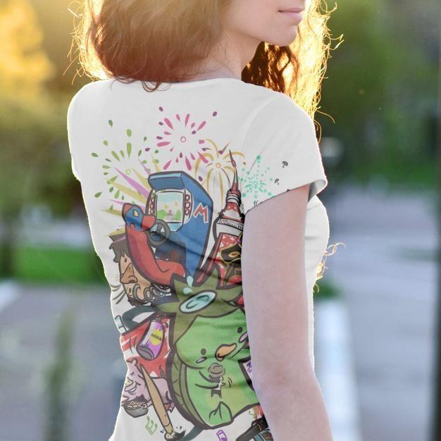 Download Free Woman Wearing A T Shirt Mockup Outdoors Back View Clothing Mockup Creative T Shirt Design Shirt Mockup