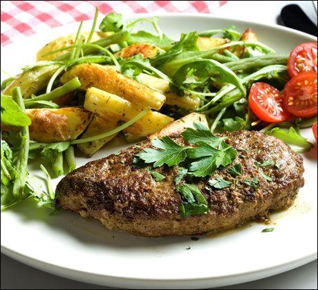 Franske karbonader med potetstrips
