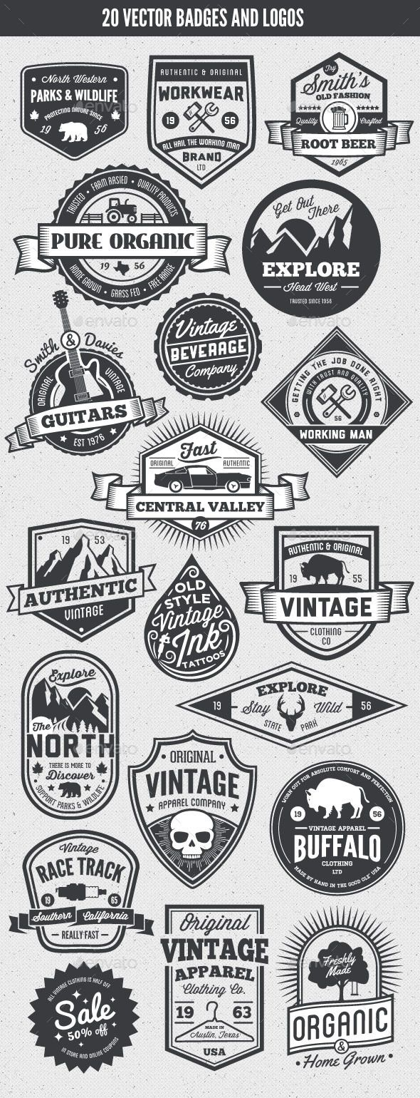 20 Vintage Style Badges and Logos - Badges & Stickers Web Elements