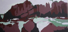 Painted on linen board on site, on the beach at Walkerville South in Victoria. The rocks there are fantastic shapes and I wanted to try and capture this with an abstract approach and a limited palette.