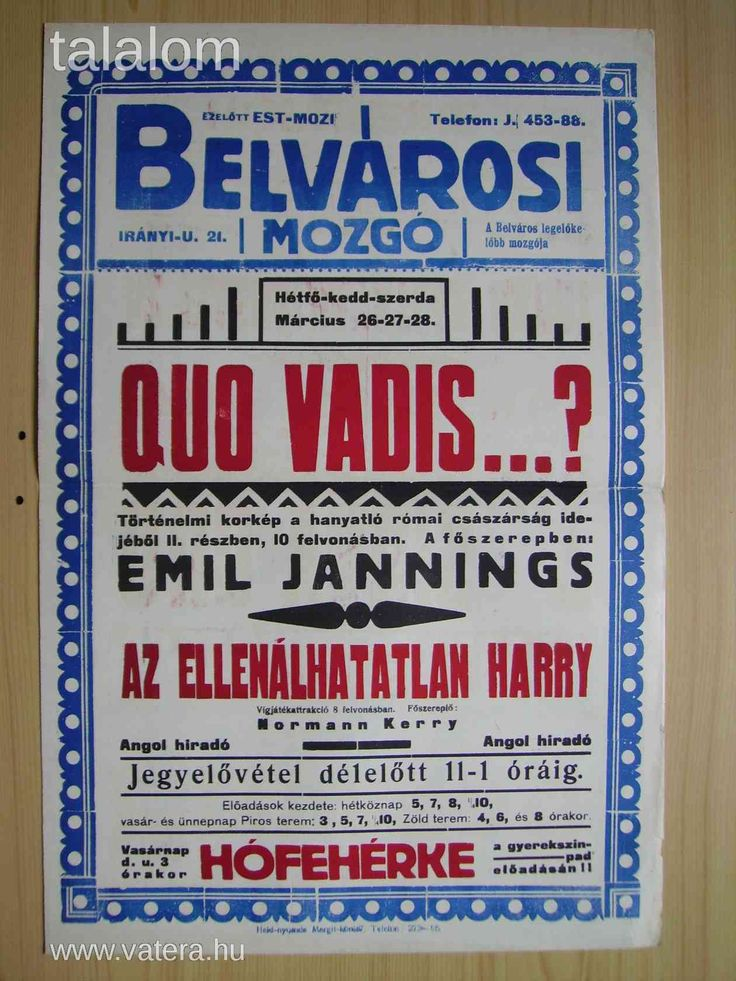 Movie poster from Hungary 1920-1930 Woodtype , letterpress