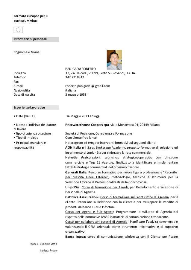 Curriculum Vitae Formato Europass En 2020 Formato De Curriculum