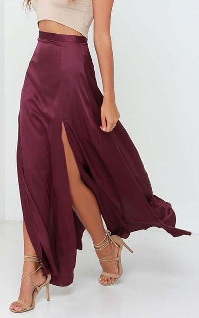 Rise of Dawn Split Second Burgundy Maxi Skirt