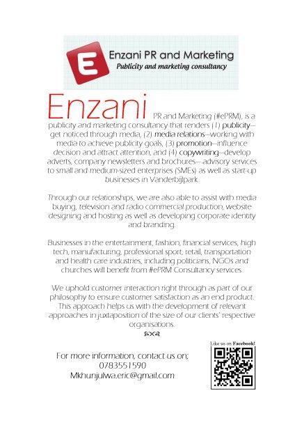 Enzani PR and Marketing (#ePRM) Consultancy bio.