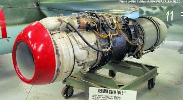 He_162_Salamander_worldwartwo.filminspector.com_14 BMW.003 E-1 Jet engine of the Heinkel He 162 Volksjager (People's Fighter) aircraft.
