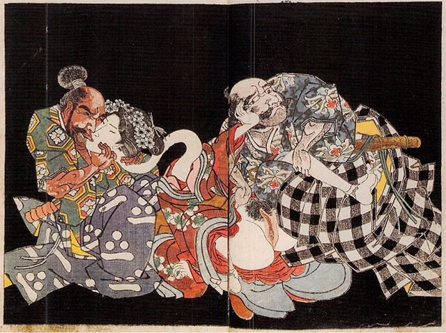 Long-neck woman ろくろ首の娘を奪い合うおっさん二人 1827年頃