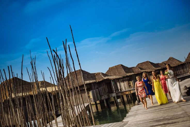 The girls arrive for a destination wedding at Song Saa private island resort in Cambodia.