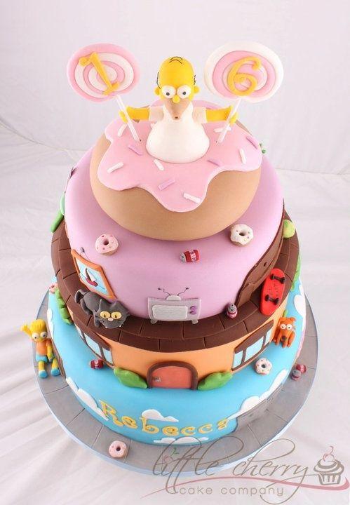 Bolos decorados dos Simpsons - http://www.boloaniversario.com/bolos-decorados-dos-simpsons/