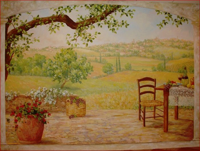 Trompe loeil tuscan scene murals bing images murals for A mural is painted on a