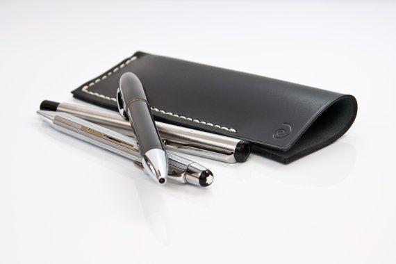 Pen Pouch in Black Coal, Pen Case, Pen Holder, Pencil Case, Leather, Leather Pen Case, Leather Pencil Case, Pencil Case Leather, Mens Gift,