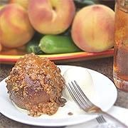 """Texas Peach Cobbler - P. Allen Smith  This """"cobbler"""" is actually individual peaches stuffed with pie filling, topped with a pecan crumble.   serves 6"""