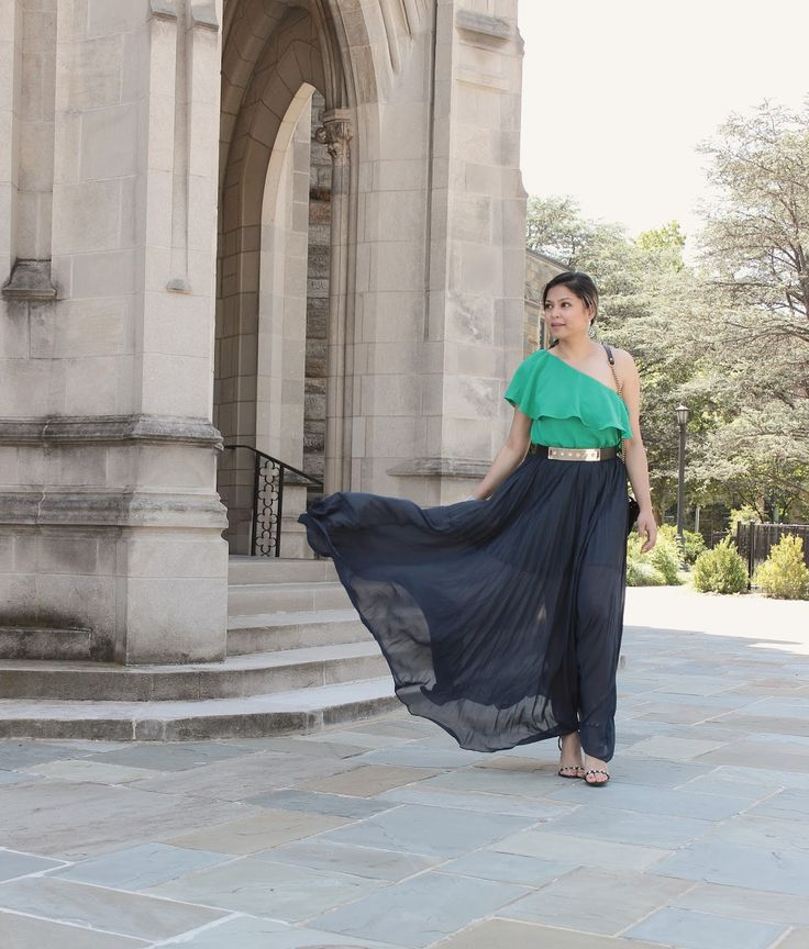 what to wear to a wedding, summer wedding, wedding guest, maxi skirt , green ruffle one shoulder dress, evening look, casual wedding, black tie wedding, black tie party, myriad musings, gucci gg marmont bag, .