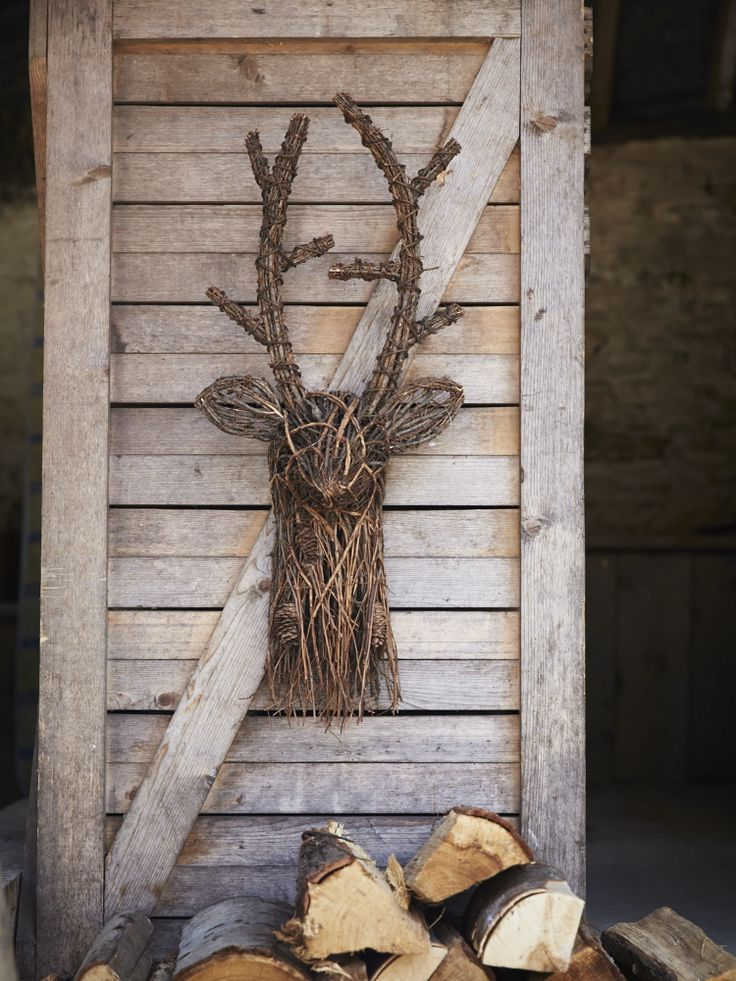 Twig deer head, crafted from red pine branches and pine cones, H68 x W29 x D18cm